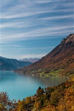Preview iPhone wallpaper Lake, mountains, trees, village, autumn