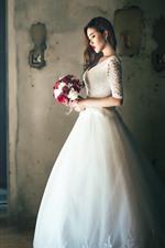 Preview iPhone wallpaper Long hair girl, bride, white skirt, flowers