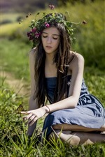 Preview iPhone wallpaper Long hair girl, wreath, skirt, butterfly, grass, summer