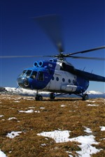 iPhone壁紙のプレビュー Mi-8ヘリコプター、雪、地面