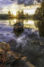 Manhã, lago, barco, árvores, nascer do sol, nuvens