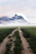 Гора, поля, снег, дорога, туман