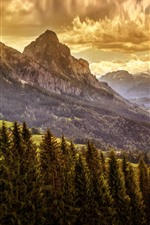 Preview iPhone wallpaper Mountains, trees, clouds, dusk, nature landscape