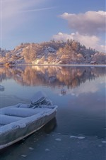 Preview iPhone wallpaper Norway, Rogaland, river, snow, boat, mountains, winter