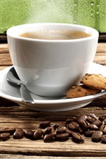 Preview iPhone wallpaper One cup coffee, cookies, coffee beans, window
