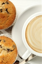 One cup coffee, cupcakes, food