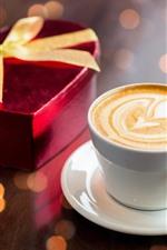 Uma xícara de café, coração de amor, presente, romântico