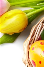 Preview iPhone wallpaper Pink and yellow tulip flowers, colorful Easter eggs