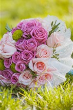 Preview iPhone wallpaper Pink roses, flowers, grass, bouquet