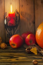 Preview iPhone wallpaper Pumpkin, red apples, nuts, candle, still life