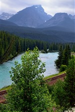 Preview iPhone wallpaper Railroad, trees, river, mountains, Canada