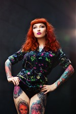 Preview iPhone wallpaper Red hair girl, tattoo, pose, lights