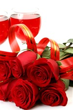 Preview iPhone wallpaper Red roses, wine, glass cup, white background