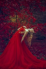 Preview iPhone wallpaper Red skirt blonde girl, pose, red maple leaves, autumn