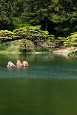 Preview iPhone wallpaper Ritsurin Park, Takamatsu, pond, trees, green, Japan
