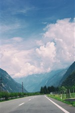 Road, highway, mountains, clouds, fence