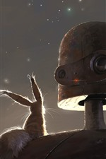 Preview iPhone wallpaper Robot and rabbit, art picture