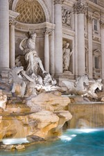 Preview iPhone wallpaper Rome, fountain, water, statue, night, Italy