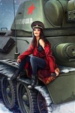 Русская девушка, танк, снег, зима, художественная картина