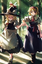 Preview iPhone wallpaper Two anime girls, walking, trees, path, sun rays