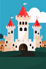 Preview iPhone wallpaper Vector picture, castle, trees