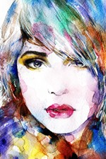 Preview iPhone wallpaper Watercolors, painting, colorful, girl, face