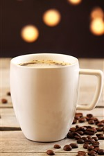 Preview iPhone wallpaper White cup, coffee, coffee beans, hazy