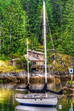 Preview iPhone wallpaper Yacht, trees, house, lake, HDR style