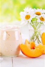 Preview iPhone wallpaper Yogurt, white chamomile flowers, peach