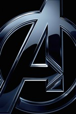 Preview iPhone wallpaper Avengers, logo, black background