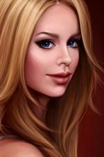 Rapariga loira, fantasia, olhos azuis, imagem artística