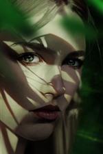 Vorschau des iPhone Hintergrundbilder Blondes Mädchenporträt, Blick, Gesicht, Schatten, Kunstbild