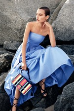 Preview iPhone wallpaper Blue skirt girl, handbag, stones