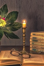 Books, candle, flowers, glasses