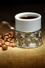 Preview iPhone wallpaper Coffee beans, mug cup