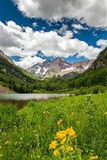 Colorado, mountains, lake, valley, flowers, clouds, USA