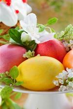 Ovos de Páscoa coloridos, prato, flores brancas