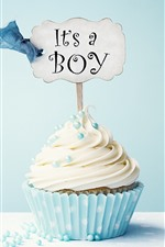Preview iPhone wallpaper Cupcake, cream, inscription, blue background
