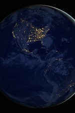 Earth, planet, continents, night, lights
