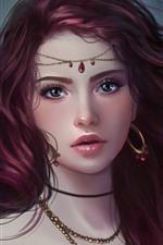 Preview iPhone wallpaper Fantasy girl, purple eyes, earrings
