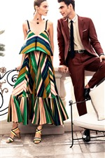 Preview iPhone wallpaper Fashion girl and man, chair