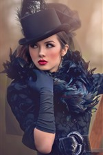 Preview iPhone wallpaper Fashion girl, glamour, hat, pose
