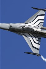 Preview iPhone wallpaper Fighting Falcon F-16AM, multipurpose fighter, smoke