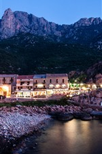 Preview iPhone wallpaper France, Corsica, houses, lights, night, sea
