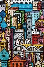 Preview iPhone wallpaper Graffiti, wall, city, buildings, painting, colorful