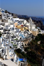 Preview iPhone wallpaper Greece, Santorini, houses, sea, bay