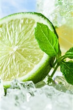 Preview iPhone wallpaper Green lemon, ice cubes, mint leaves