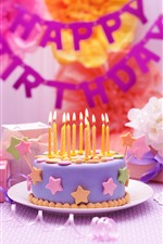 Preview iPhone wallpaper Happy Birthday, cake, candle, gift, windmill