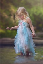 Preview iPhone wallpaper Happy little girl, child, dog, play water