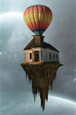 Preview iPhone wallpaper Hot air balloon, house flight, planets, creative picture